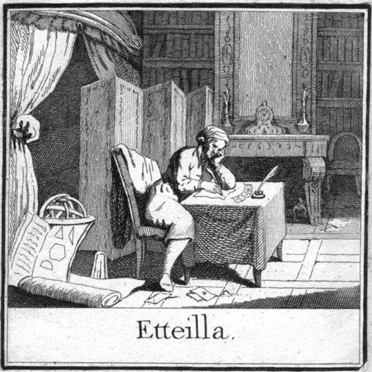 Жан-Батист Алльетт (Эттейла) за своим рабочим столом, из Теоретического и практического курса книги Тота (1790)
