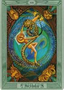 "Карта Аркана ""Вселенная"" (Мир) из колоды Алистера Кроули - Таро Тота"