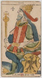 """Карта Аркана """"Император"""" из колоды Марсельское Таро 1650 г"""